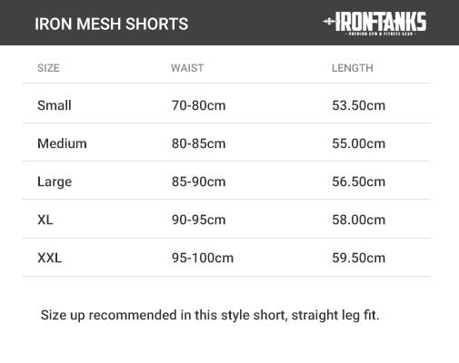 ironmesh gym shorts size chart