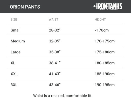 orion pants size chart